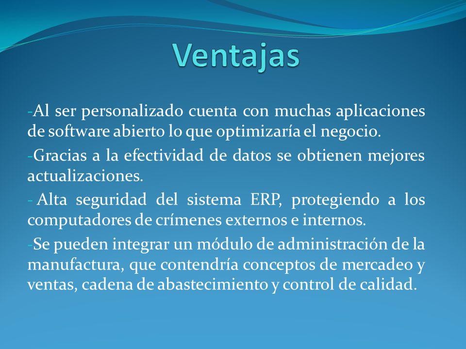 Ventajas Al ser personalizado cuenta con muchas aplicaciones de software abierto lo que optimizaría el negocio.