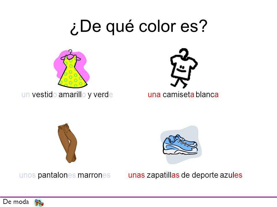 ¿De qué color es un vestido amarillo y verde una camiseta blanca