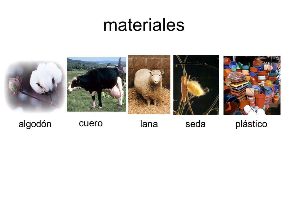 materiales algodón cuero lana seda plástico