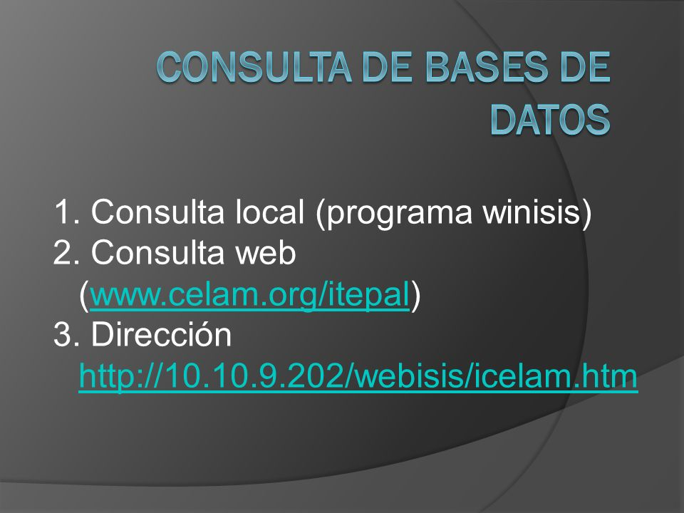 Consulta de bases de datos