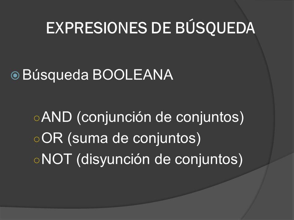 EXPRESIONES DE BÚSQUEDA