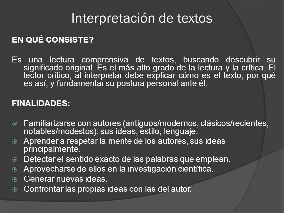 Interpretación de textos