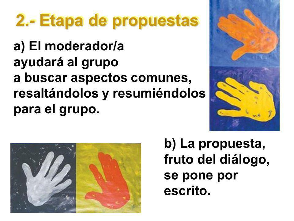 2.- Etapa de propuestas a) El moderador/a ayudará al grupo