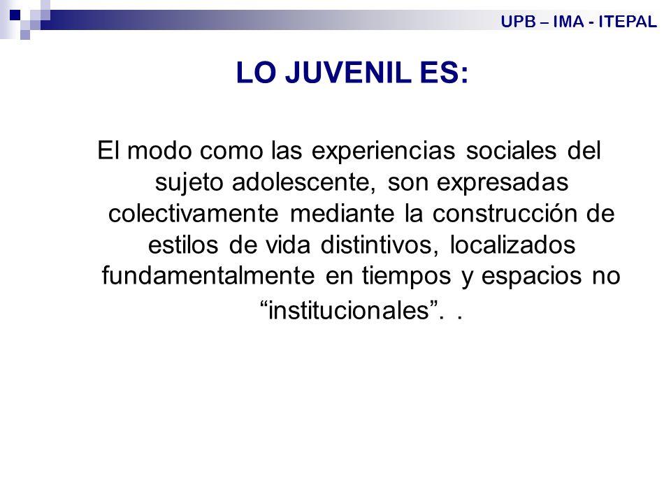 UPB – IMA - ITEPAL LO JUVENIL ES: