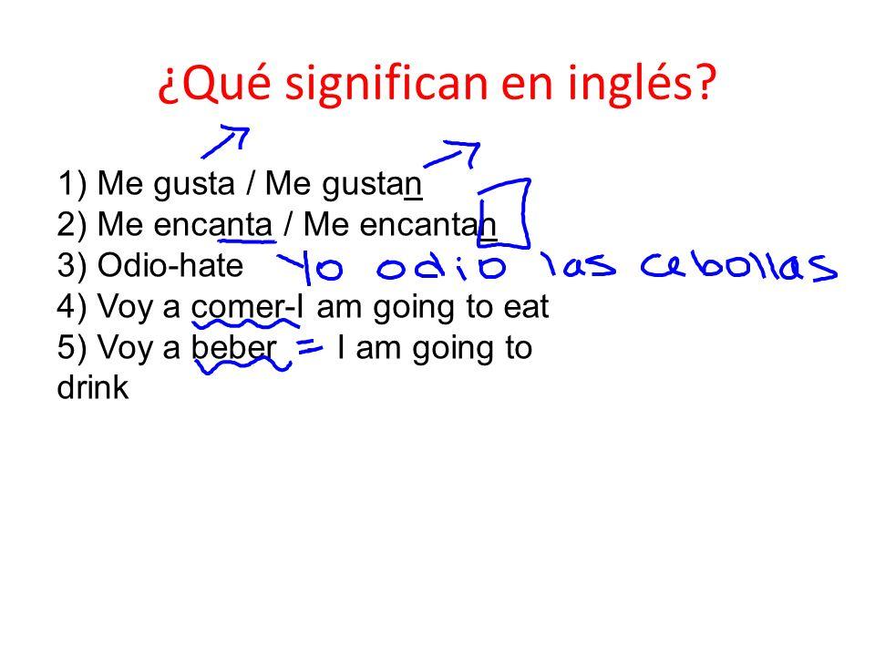 ¿Qué significan en inglés