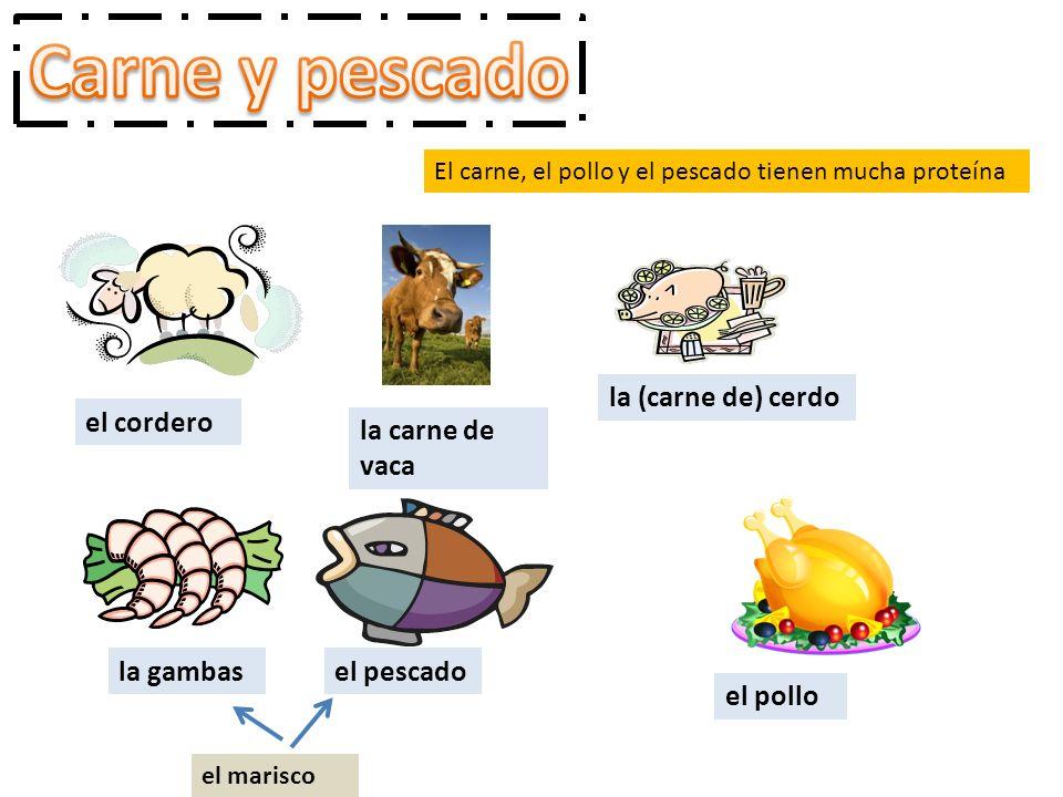 Carne y pescado la (carne de) cerdo el cordero la carne de vaca