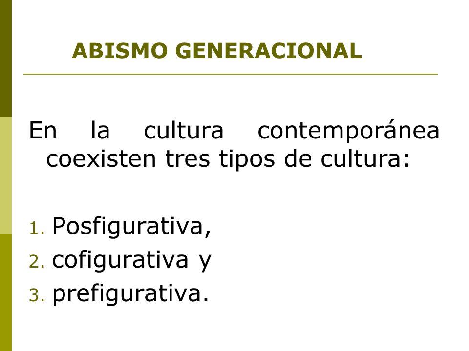En la cultura contemporánea coexisten tres tipos de cultura: