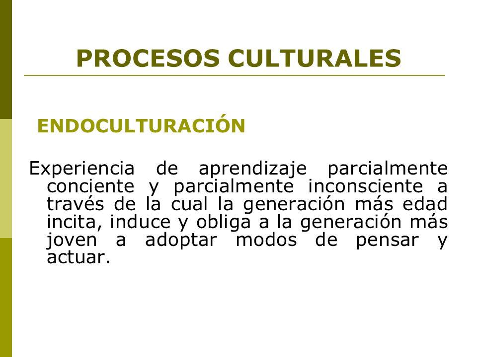 PROCESOS CULTURALES ENDOCULTURACIÓN
