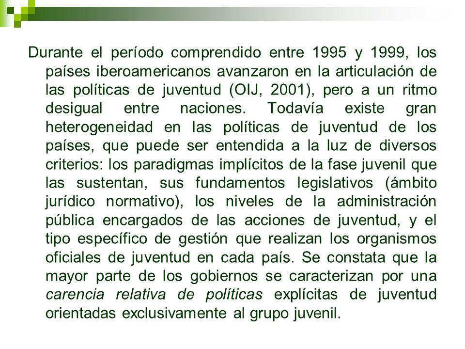 Durante el período comprendido entre 1995 y 1999, los países iberoamericanos avanzaron en la articulación de las políticas de juventud (OIJ, 2001), pero a un ritmo desigual entre naciones.