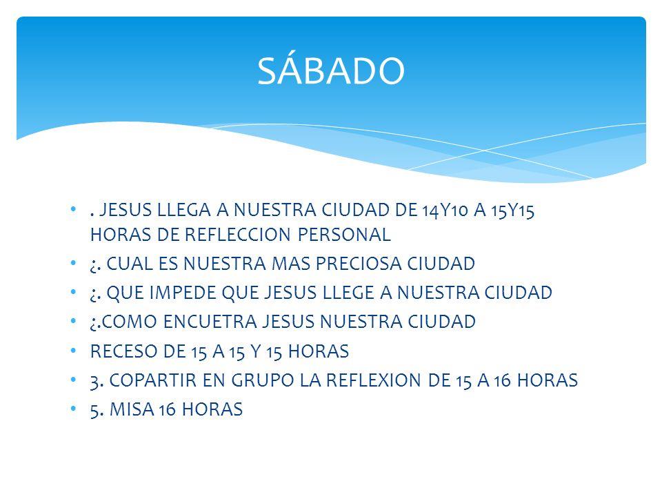SÁBADO . JESUS LLEGA A NUESTRA CIUDAD DE 14Y10 A 15Y15 HORAS DE REFLECCION PERSONAL ¿. CUAL ES NUESTRA MAS PRECIOSA CIUDAD 
