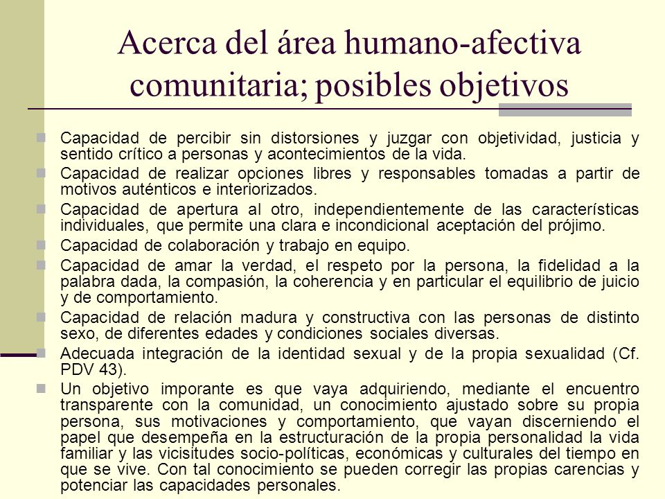Acerca del área humano-afectiva comunitaria; posibles objetivos