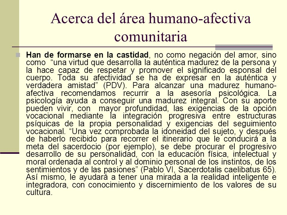 Acerca del área humano-afectiva comunitaria