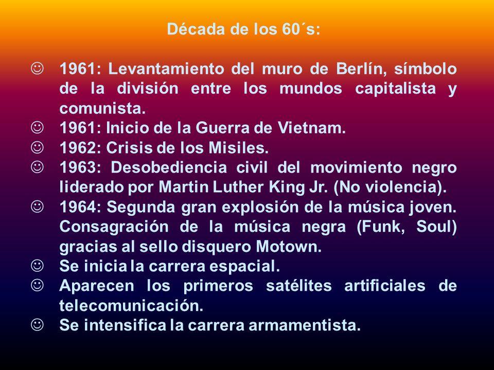 Década de los 60´s: 1961: Levantamiento del muro de Berlín, símbolo de la división entre los mundos capitalista y comunista.