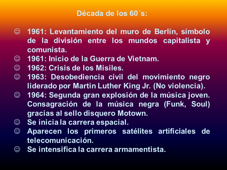 Década de los 60´s:1961: Levantamiento del muro de Berlín, símbolo de la división entre los mundos capitalista y comunista.