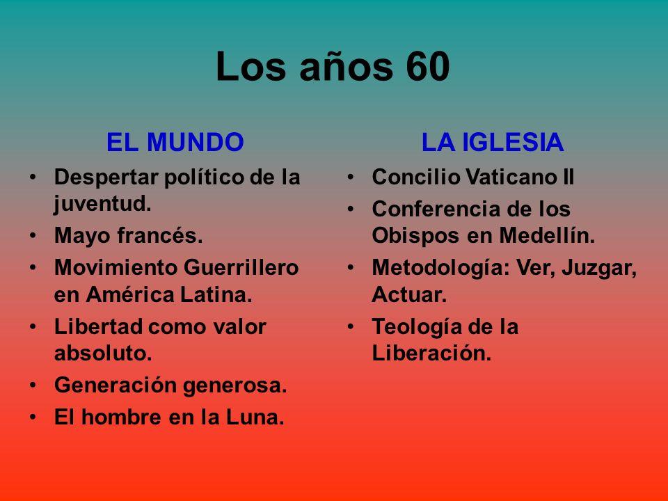 Los años 60 EL MUNDO LA IGLESIA Despertar político de la juventud.