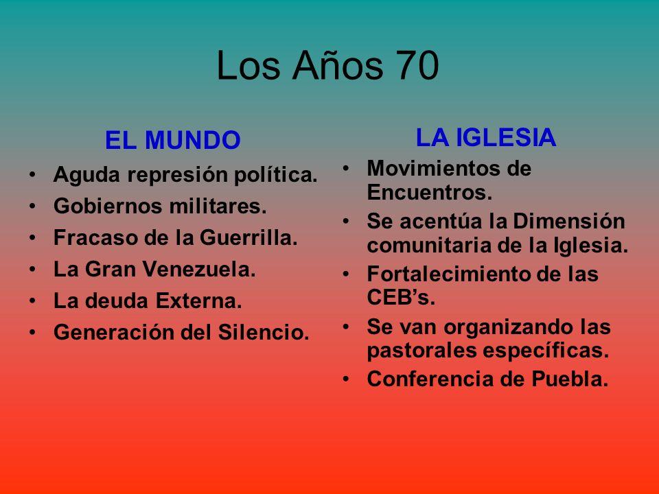 Los Años 70 EL MUNDO LA IGLESIA Aguda represión política.