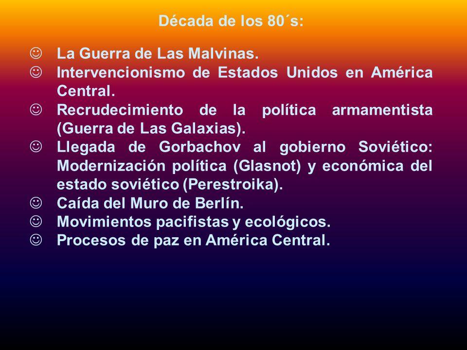 Década de los 80´s:La Guerra de Las Malvinas. Intervencionismo de Estados Unidos en América Central.