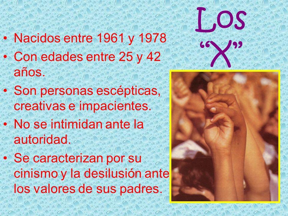 Los X Nacidos entre 1961 y 1978 Con edades entre 25 y 42 años.