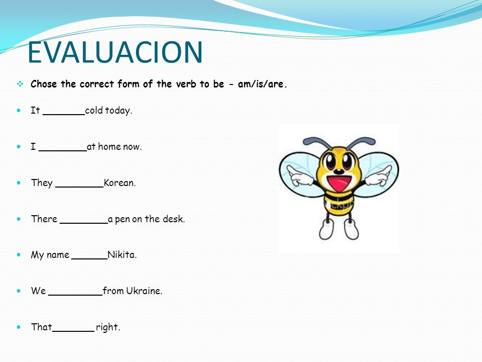 EVALUACION Chose the correct form of the verb to be - am/is/are.
