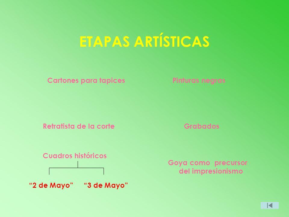 ETAPAS ARTÍSTICAS Cartones para tapices Pinturas negras