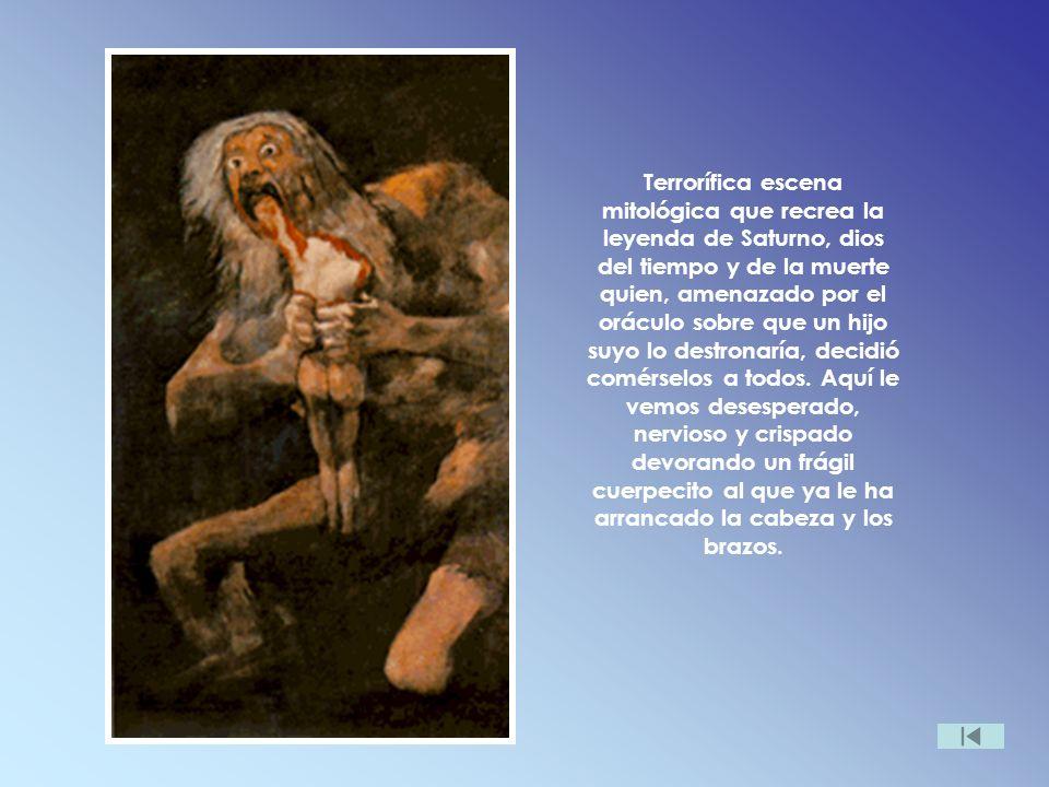 Terrorífica escena mitológica que recrea la leyenda de Saturno, dios del tiempo y de la muerte quien, amenazado por el oráculo sobre que un hijo suyo lo destronaría, decidió comérselos a todos.