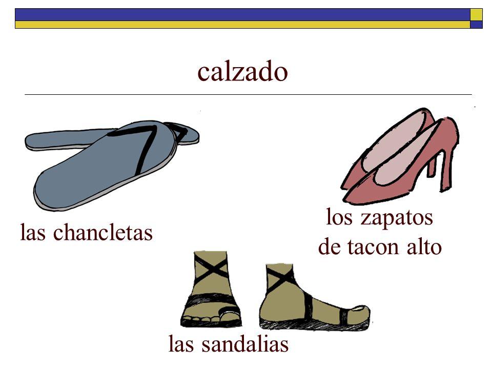 calzado los zapatos de tacon alto las chancletas las sandalias