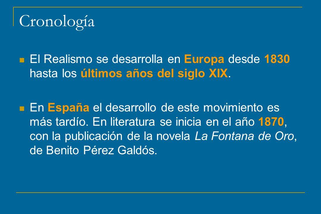 CronologíaEl Realismo se desarrolla en Europa desde 1830 hasta los últimos años del siglo XIX.
