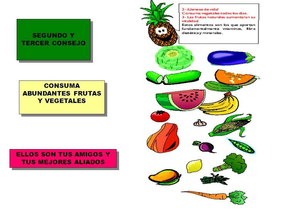 SEGUNDO Y TERCER CONSEJO CONSUMA ABUNDANTES FRUTAS Y VEGETALES