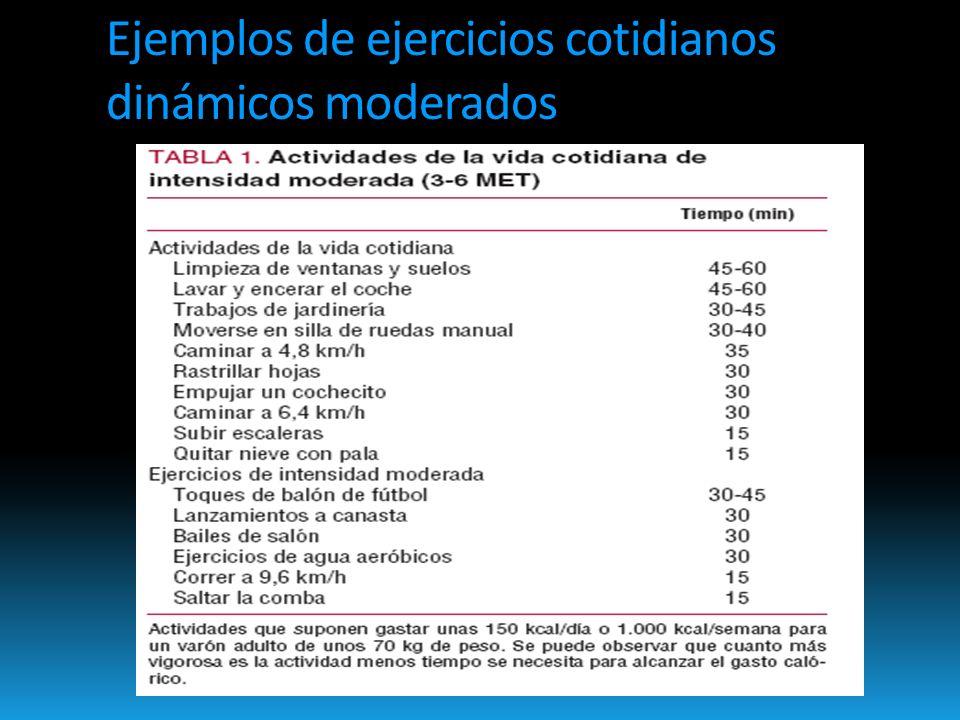 Ejemplos de ejercicios cotidianos dinámicos moderados