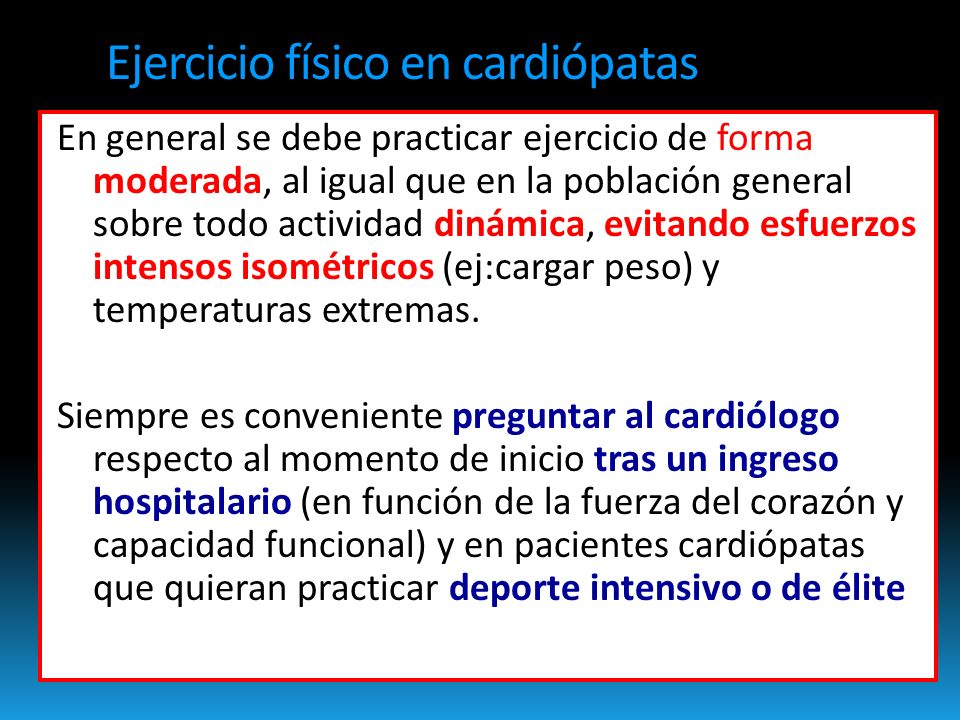 Ejercicio físico en cardiópatas
