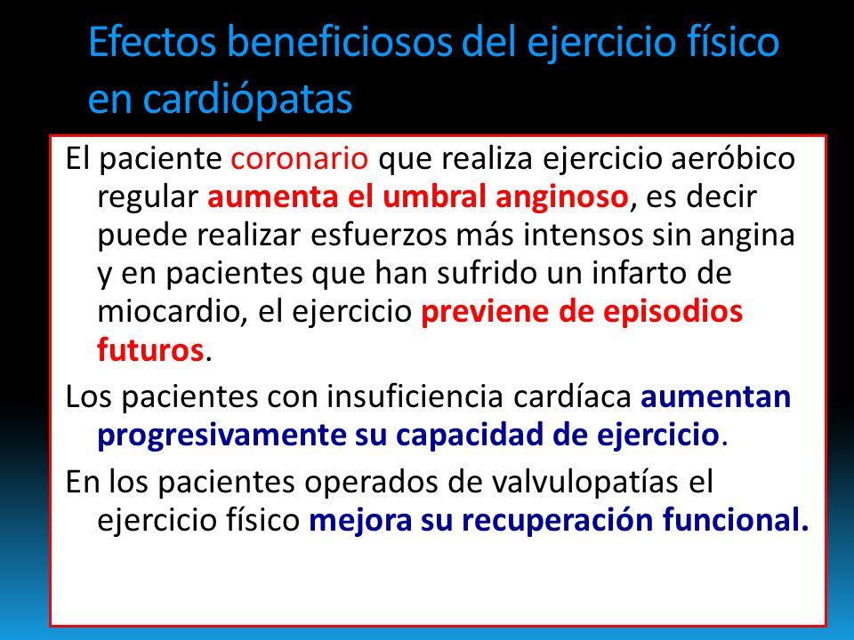 Efectos beneficiosos del ejercicio físico en cardiópatas