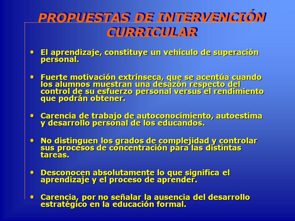 PROPUESTAS DE INTERVENCIÓN CURRICULAR