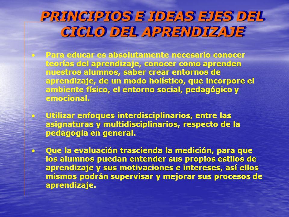 PRINCIPIOS E IDEAS EJES DEL CICLO DEL APRENDIZAJE