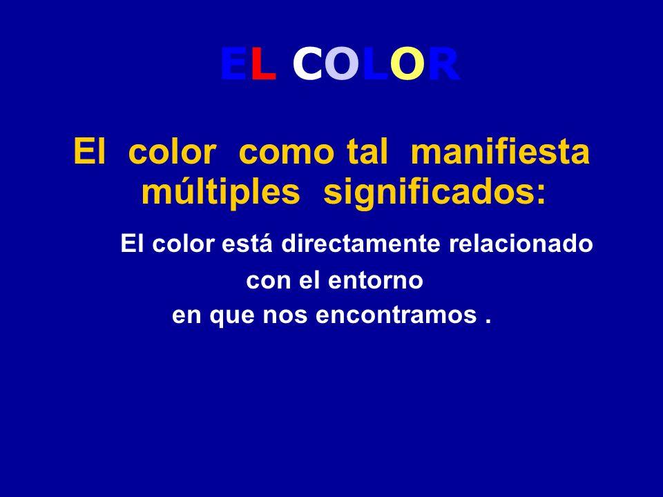 EL COLOR El color como tal manifiesta múltiples significados: