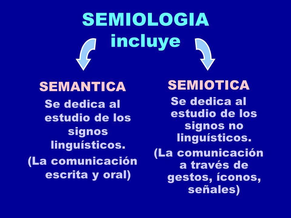 SEMIOLOGIA incluye SEMANTICA SEMIOTICA