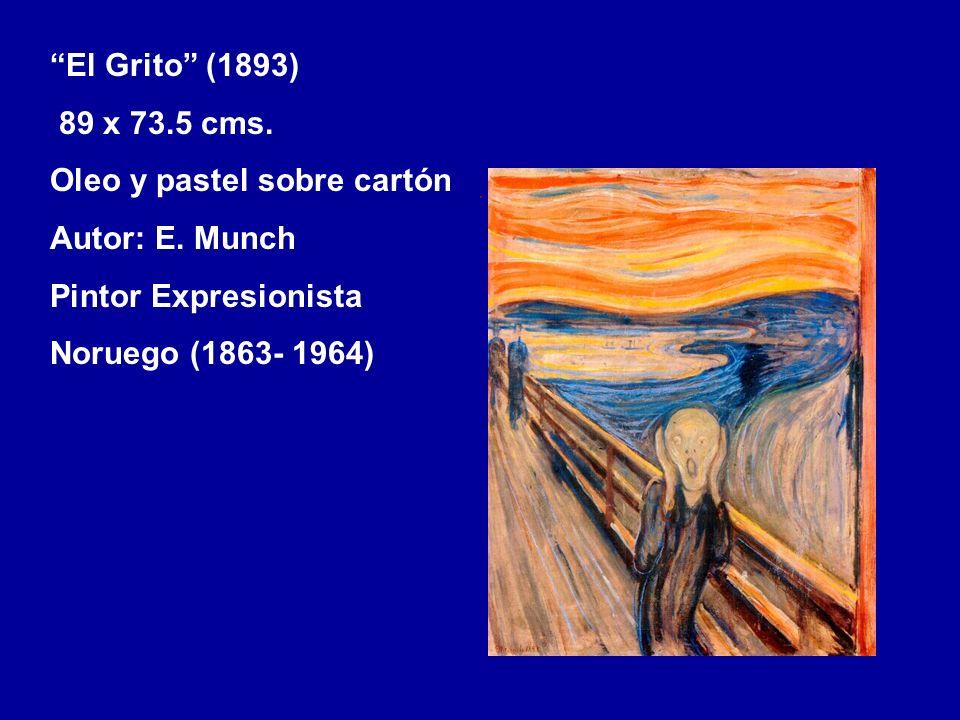 El Grito (1893) 89 x 73.5 cms. Oleo y pastel sobre cartón. Autor: E. Munch. Pintor Expresionista.