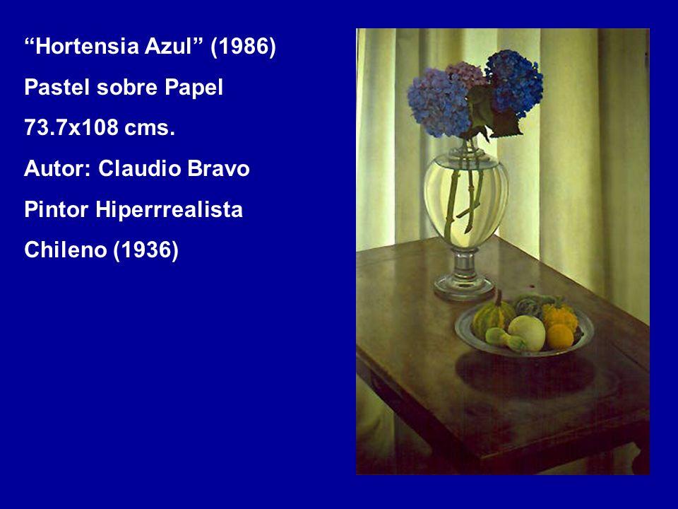 Hortensia Azul (1986) Pastel sobre Papel. 73.7x108 cms. Autor: Claudio Bravo. Pintor Hiperrrealista.