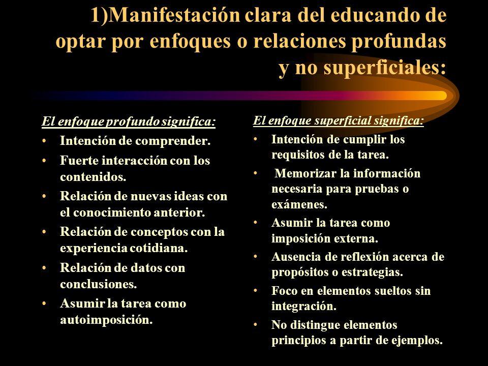 1)Manifestación clara del educando de optar por enfoques o relaciones profundas y no superficiales: