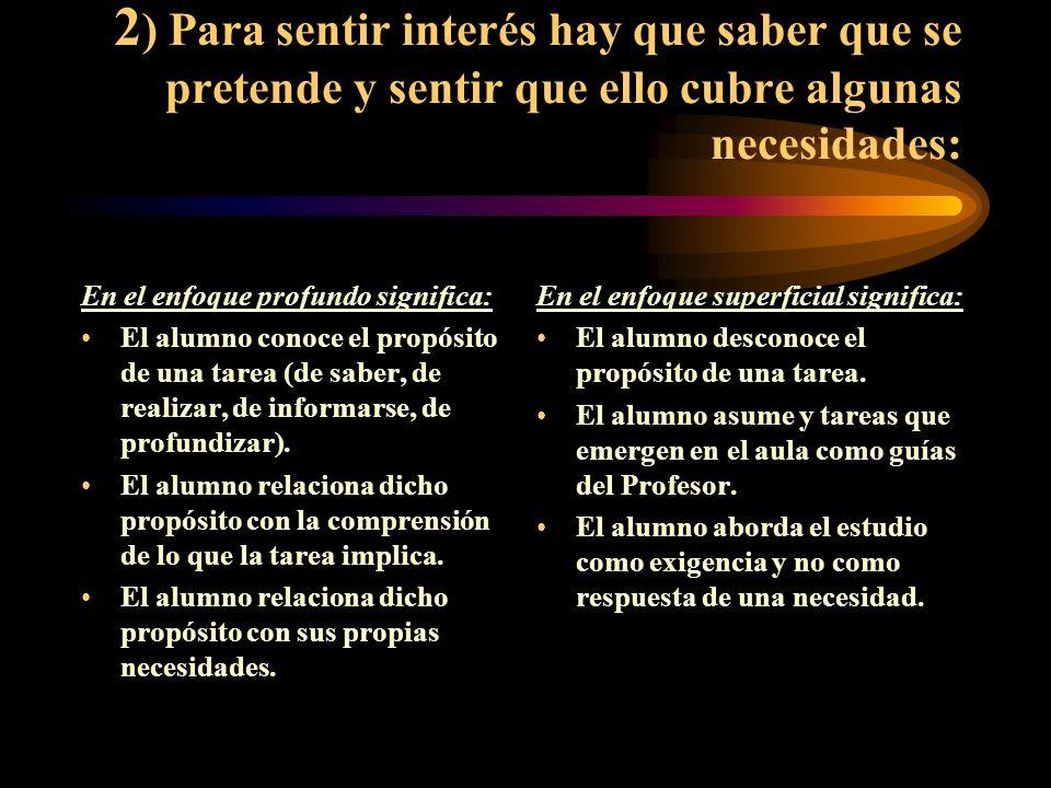 2) Para sentir interés hay que saber que se pretende y sentir que ello cubre algunas necesidades: