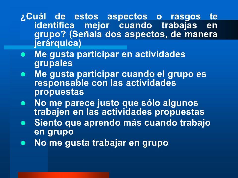 ¿Cuál de estos aspectos o rasgos te identifica mejor cuando trabajas en grupo (Señala dos aspectos, de manera jerárquica)