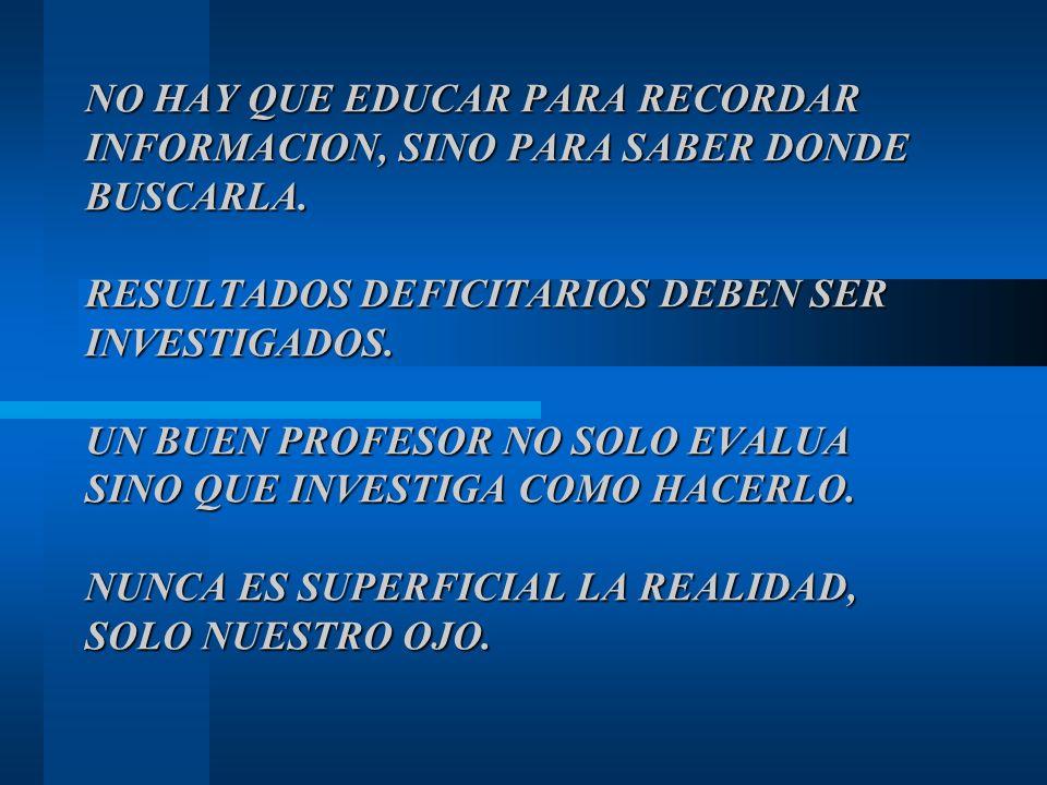 NO HAY QUE EDUCAR PARA RECORDAR INFORMACION, SINO PARA SABER DONDE BUSCARLA.