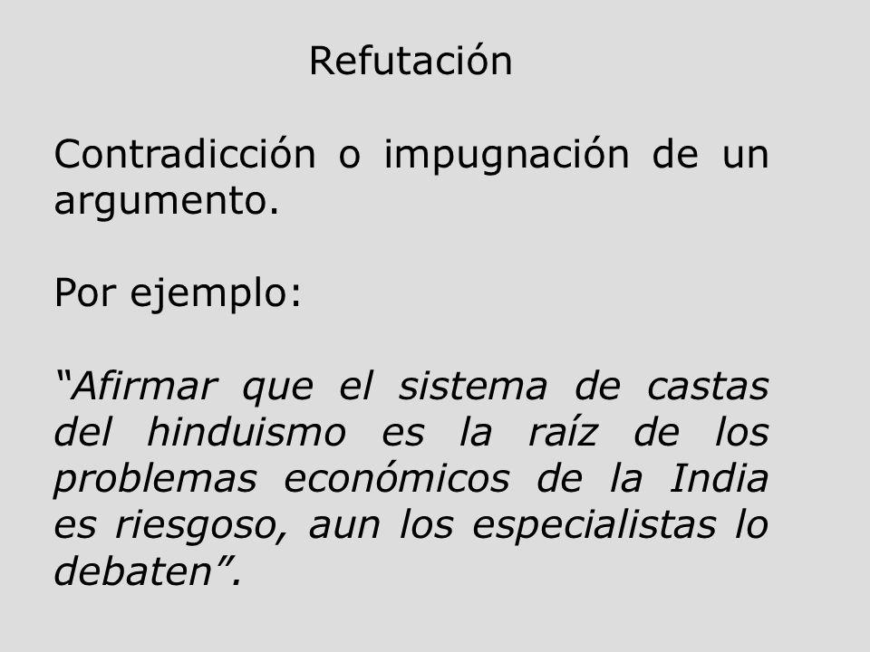 Refutación Contradicción o impugnación de un argumento. Por ejemplo: