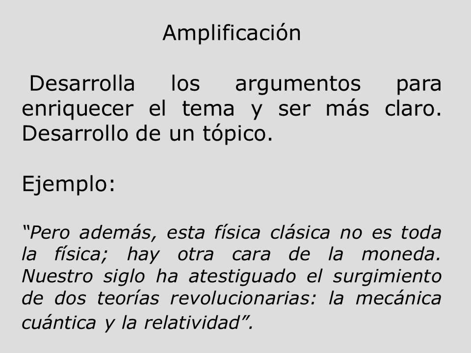 Amplificación Desarrolla los argumentos para enriquecer el tema y ser más claro. Desarrollo de un tópico.