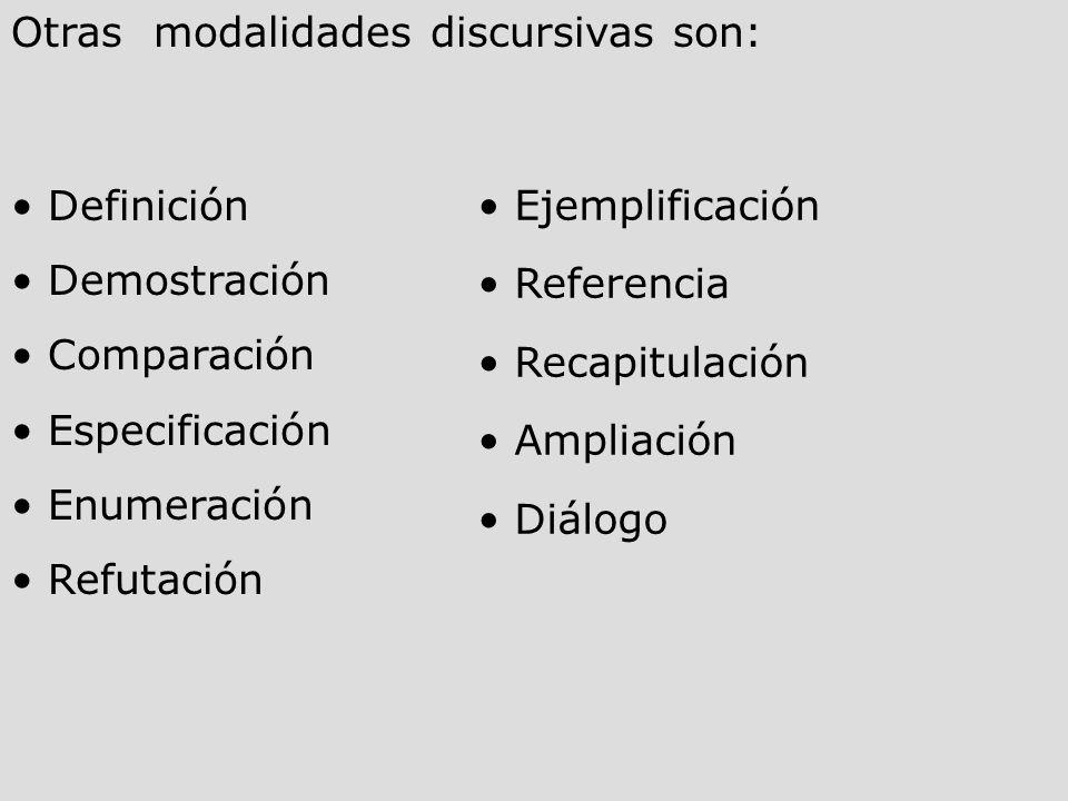 Otras modalidades discursivas son: