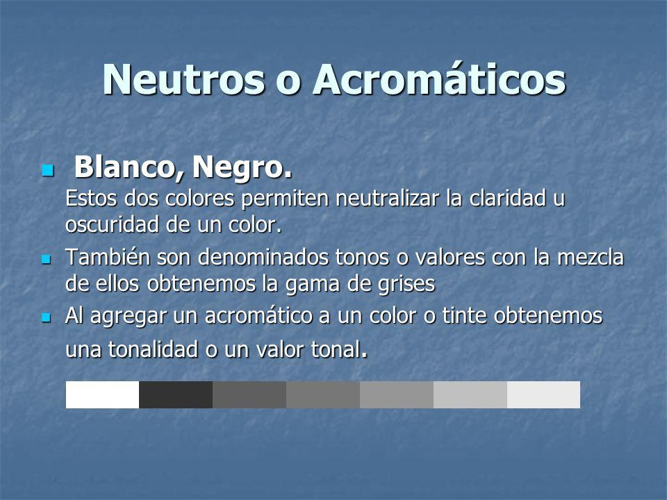 Neutros o Acromáticos Blanco, Negro. Estos dos colores permiten neutralizar la claridad u oscuridad de un color.