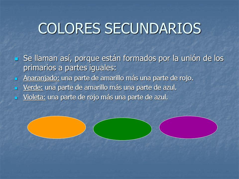 COLORES SECUNDARIOSSe llaman así, porque están formados por la unión de los primarios a partes iguales: