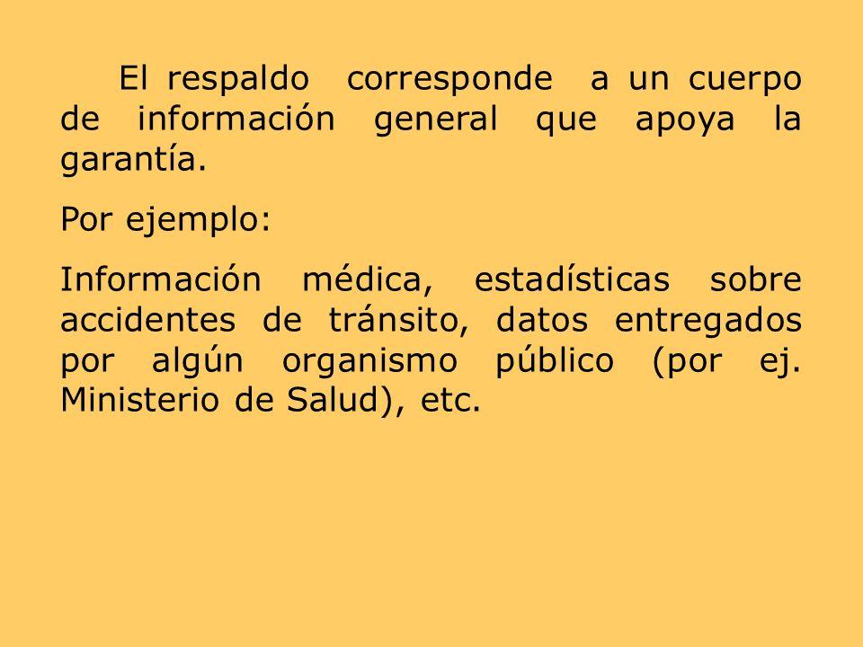 El respaldo corresponde a un cuerpo de información general que apoya la garantía.