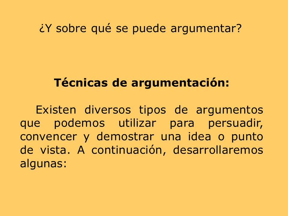 Técnicas de argumentación:
