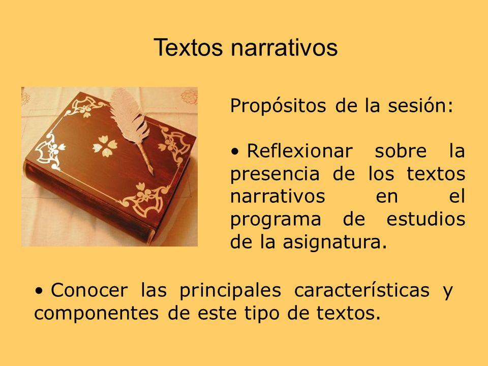 Textos narrativos Propósitos de la sesión: