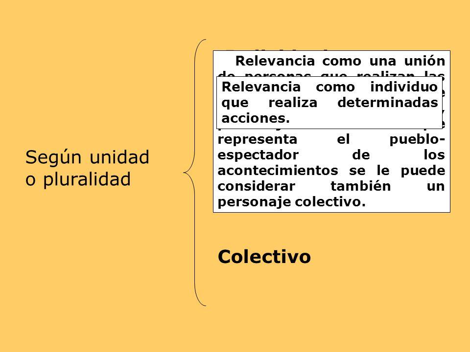 Individual Según unidad o pluralidad Colectivo
